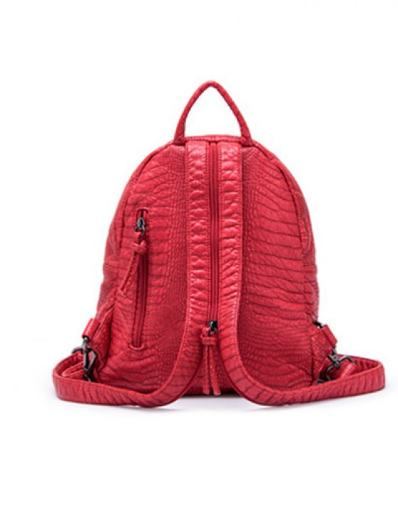 Crocodile Embossing PU Leather Backpack - RED  Mobile