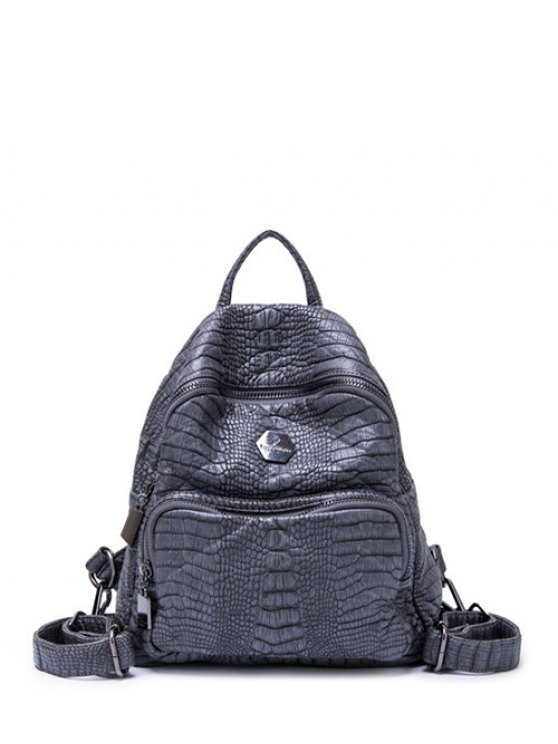 Crocodile Embossing PU Leather Backpack - GRAY  Mobile
