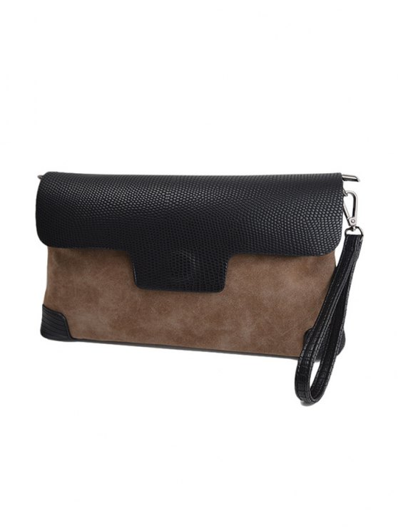 Magnetic Closure PU Leather Embossing Cluth Bag - LIGHT BROWN  Mobile