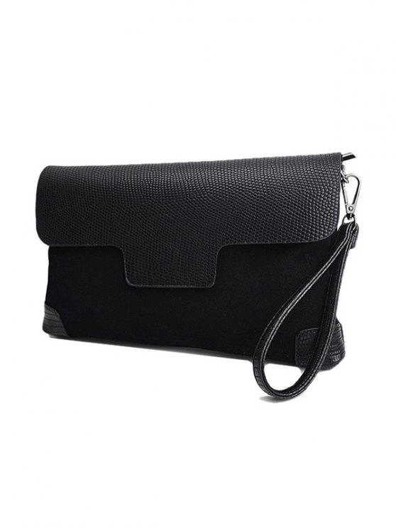 Magnetic Closure PU Leather Embossing Cluth Bag - BLACK  Mobile