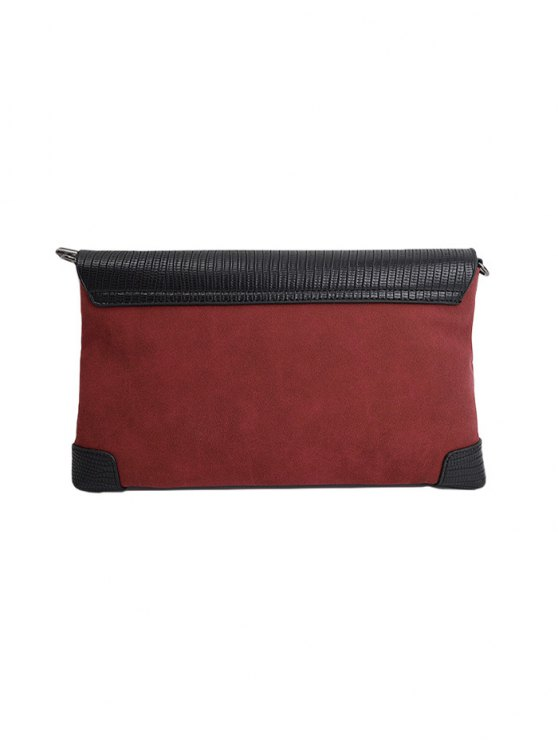 Magnetic Closure PU Leather Embossing Cluth Bag - CLARET  Mobile