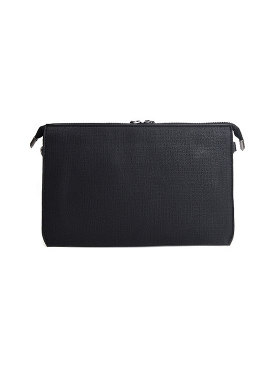 Twist-Lock Zipper Textured Leather Clutch Bag - BLACK  Mobile