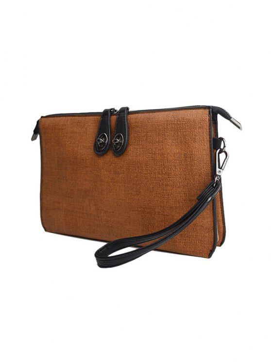 Twist-Lock Zipper Textured Leather Clutch Bag - BROWN  Mobile