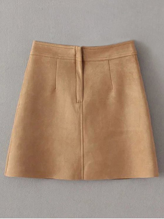 A Line Front Pockets Suede Skirt - LIGHT COFFEE L Mobile
