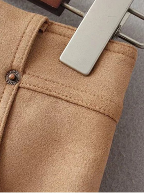 A Line Front Pockets Suede Skirt - OLIVE GREEN L Mobile