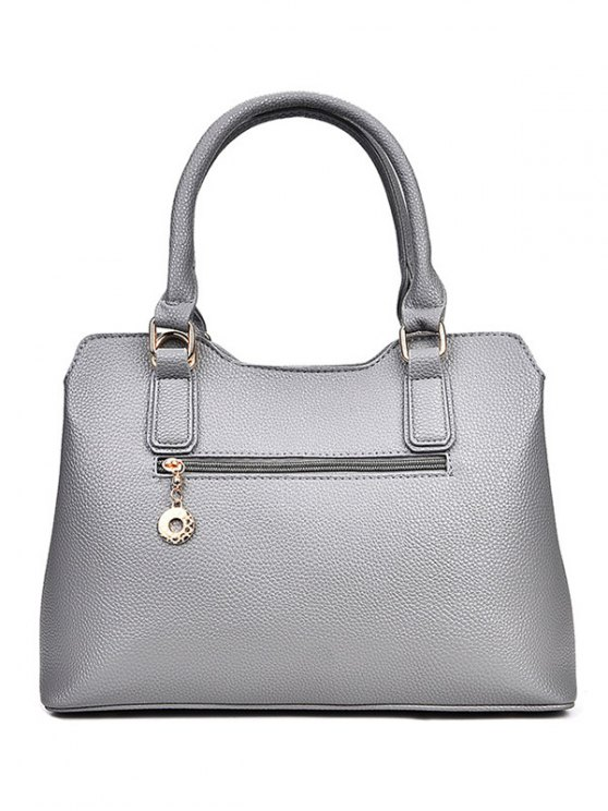 Dome Stud Zip Textured Leather Tote Bag - LIGHT GRAY  Mobile