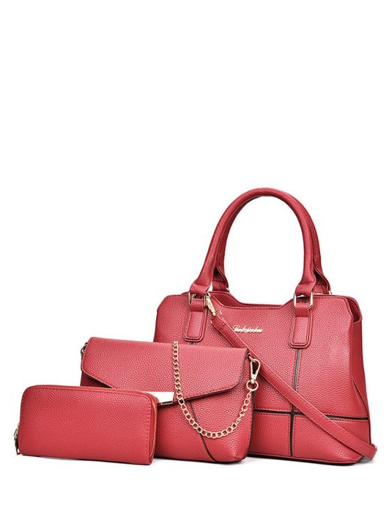 Dome Stud Zip Textured Leather Tote Bag - RED  Mobile