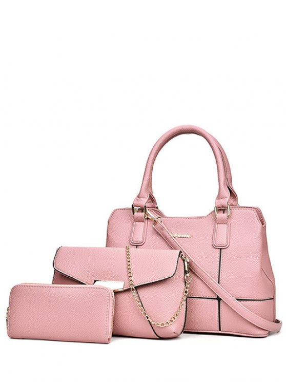Dome Stud Zip Textured Leather Tote Bag - PINK  Mobile