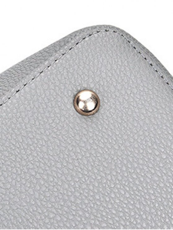 Dome Stud Zip Textured Leather Tote Bag -   Mobile