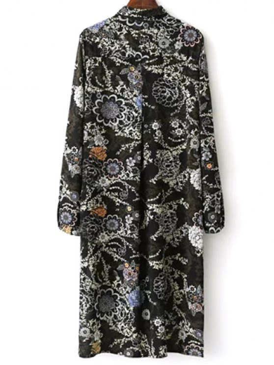 Floral Print Midi Shirt Dress - BLACK M Mobile