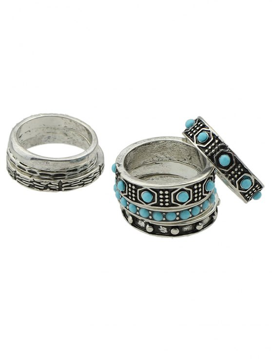Faux Turquoise Rings Set - SILVER  Mobile