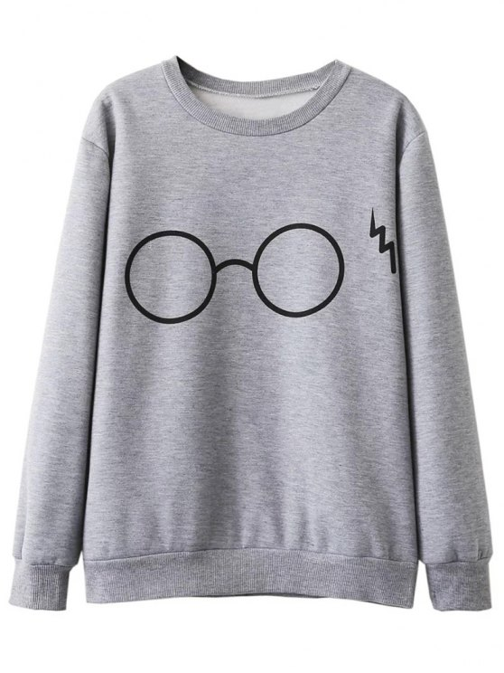 hot Fleece Lined Glasses Graphic Sweatshirt - GRAY L