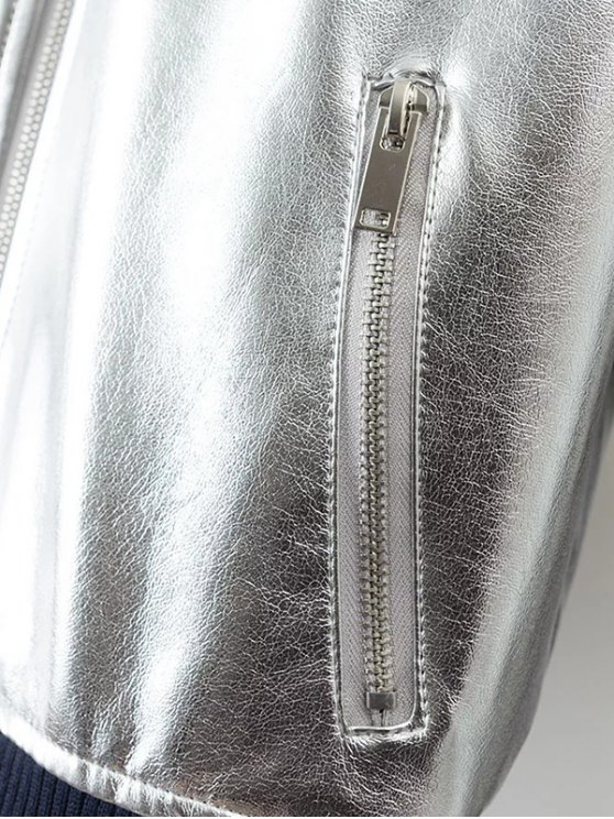 Metallic PU Leather Bomber Jacket - SILVER M Mobile
