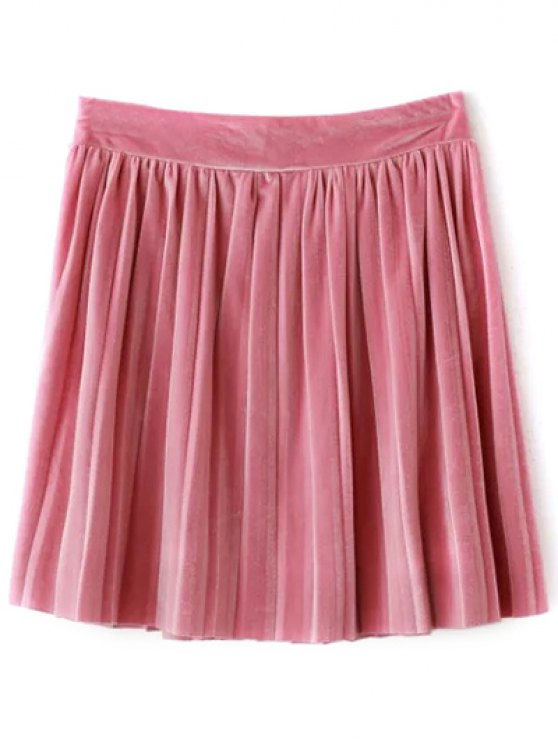 affordable Pleated Velvet Mini Skirt - PINK M
