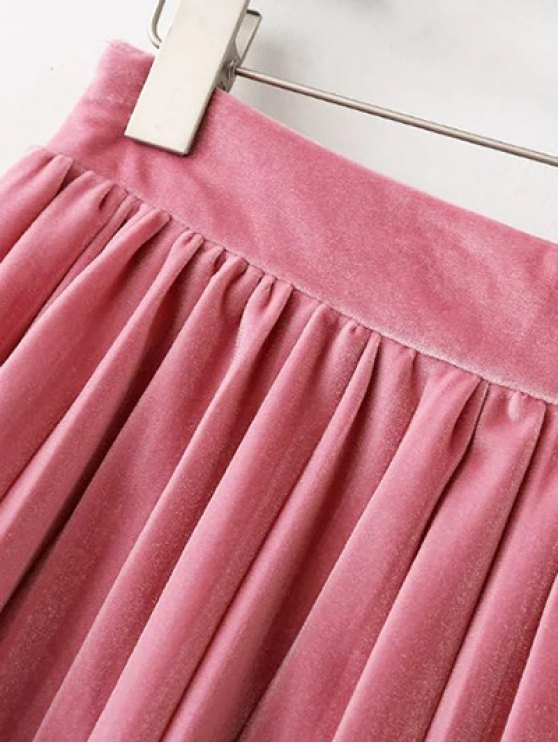Pleated Velvet Mini Skirt - PINK L Mobile