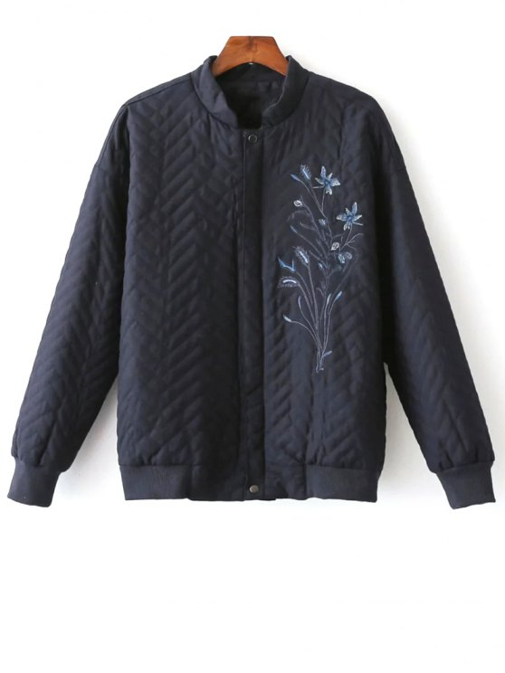 sale Herringbone Quilted Embroidered Jacket - PURPLISH BLUE S