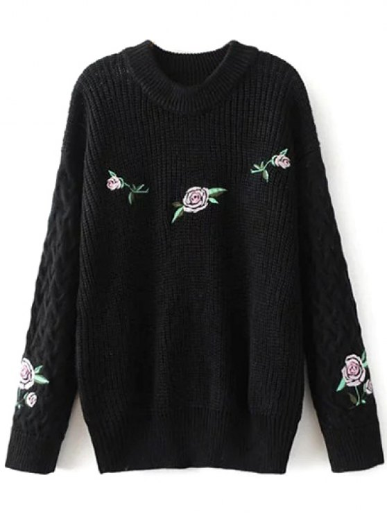 Oversized Floral Embroidered Sweater - BLACK L Mobile