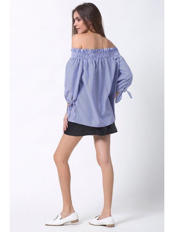 Off The Shoulder Smocked Striped Blouse - BLUE M Mobile