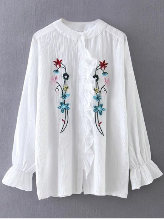 unique Embroidered Ruffled Shirt - WHITE ONE SIZE