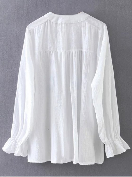 Embroidered Ruffled Shirt - WHITE ONE SIZE Mobile