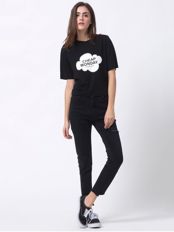 Patterned Short Sleeve Funny Tee - BLACK S Mobile