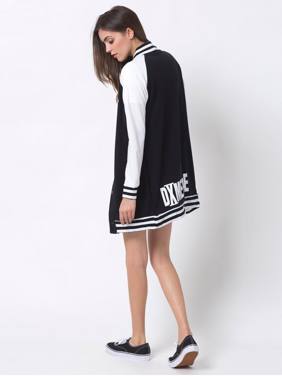 Patched Raglan Sleeve Baseball Coat - BLACK S Mobile