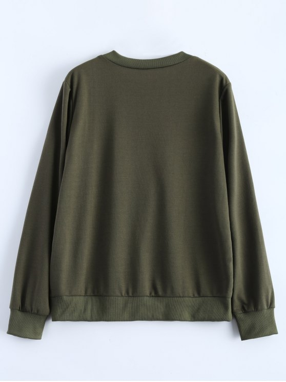 Fitting Skull Sweatshirt - ARMY GREEN XL Mobile
