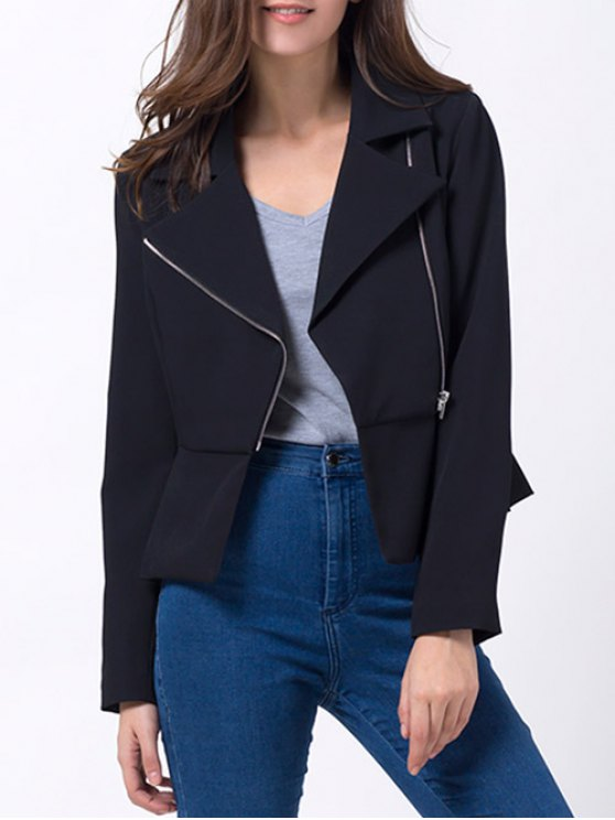 Zip Up Asymmetric Peplum Blazer - BLACK XL Mobile