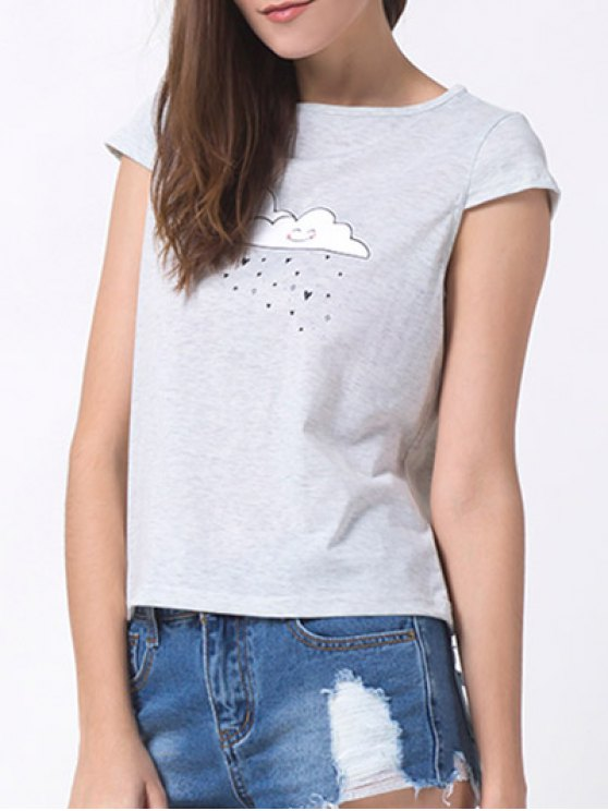 Casual Cartoon Print T-Shirt - GRAY XL Mobile