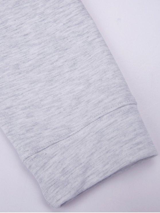 Mock Neck Letter Print Sweatshirt - GRAY S Mobile