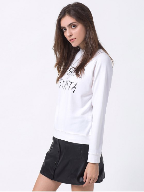 Oversized Funny Print Sweatshirt - WHITE M Mobile