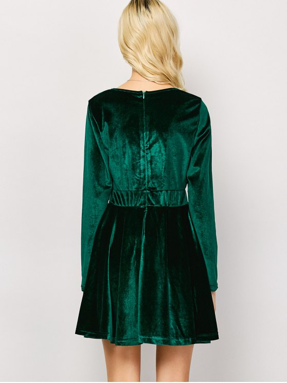 Long Sleeve Velvet Thick Mini Swing Dress - GREEN L Mobile