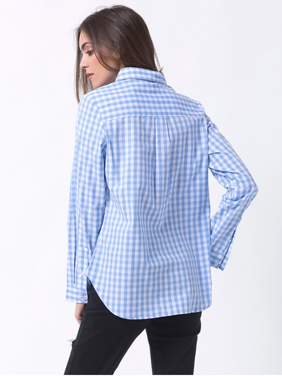 Checked Pocket Shirt - BLUE AND WHITE S Mobile