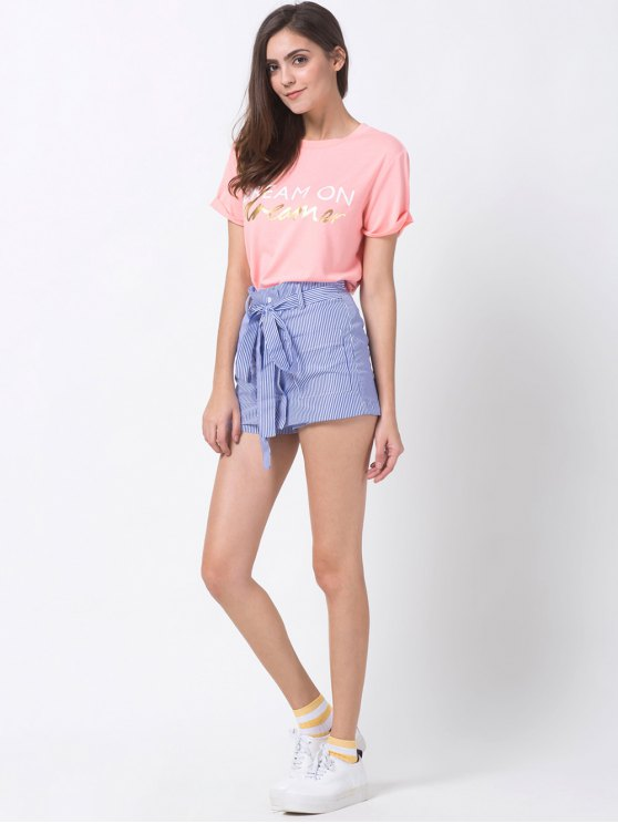 Graphic Roll Sleeve Tee - PINK XS Mobile