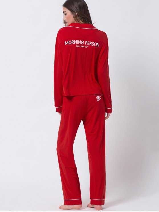 Letter Shirt with Pants Loungewear - RED M Mobile