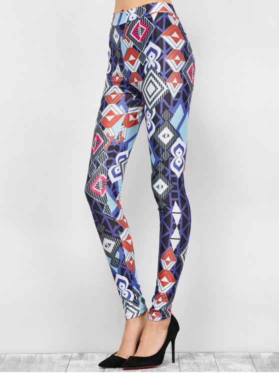 High Waist Geometric Print Leggings - BLUE L Mobile