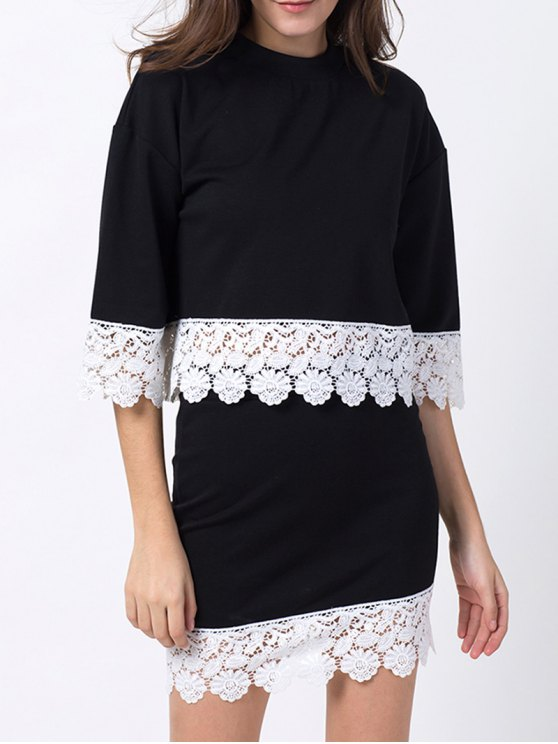 Crew Neck Lace Panel T-Shirt with Mini Skirt - BLACK XS Mobile