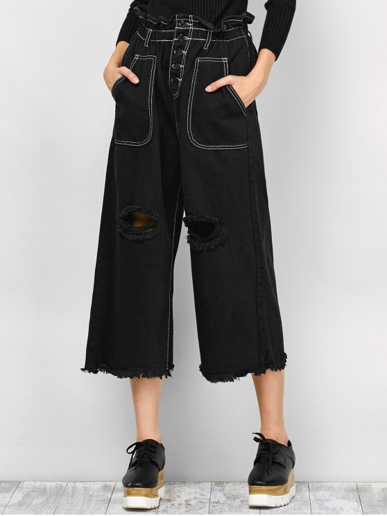 fancy Capri Ripped Wide Leg Pants - BLACK S