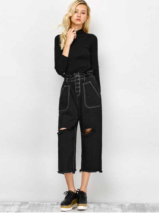 Capri Ripped Wide Leg Pants - BLACK S Mobile