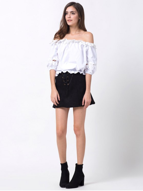 Off Shoulder Lacework Blouse - WHITE XL Mobile