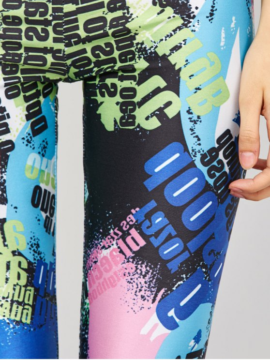 High Waist Tie-Dyed Figure Leggings - BLUE XL Mobile