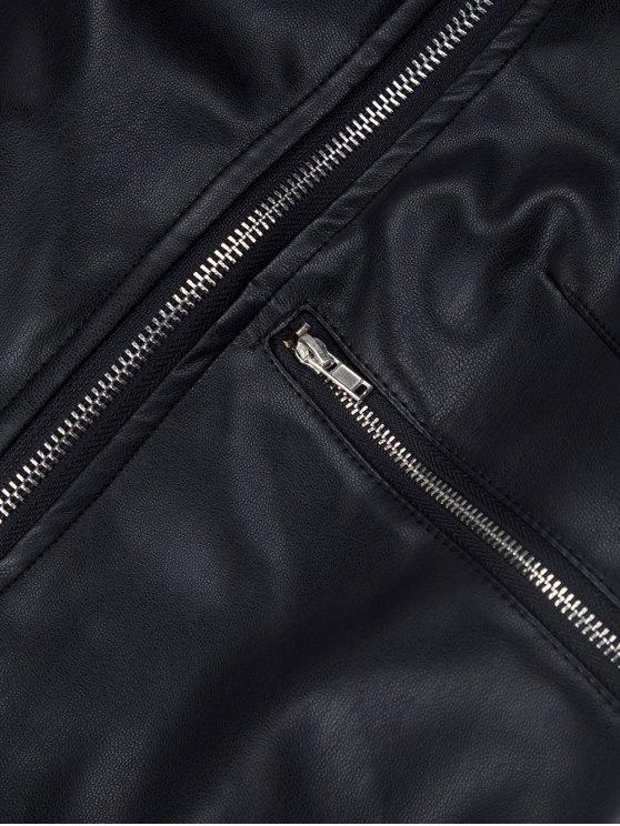 PU Leather Panel Biker Jacket - BLACK M Mobile