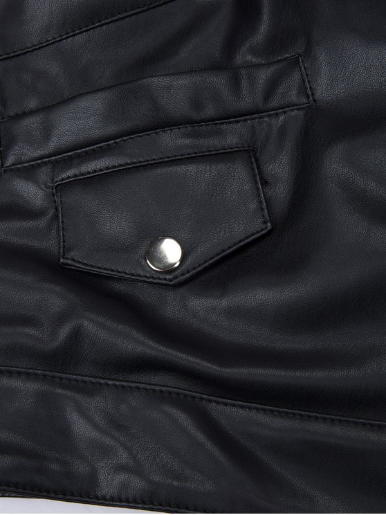 PU Leather Panel Biker Jacket - BLACK 2XL Mobile