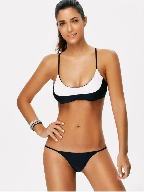 Color Block String Bikini - WHITE AND BLACK S Mobile