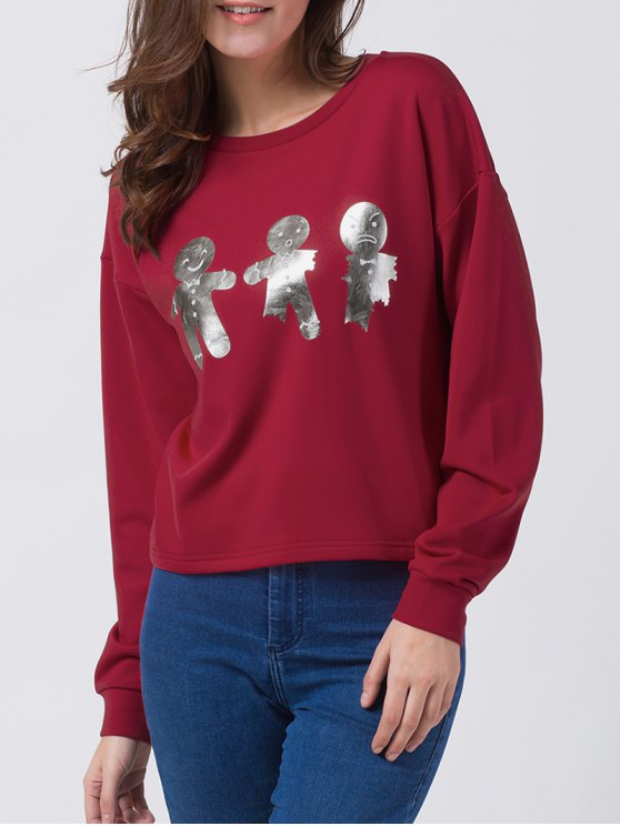 Ginger Print Drop Shoulder Tee - RED XL Mobile