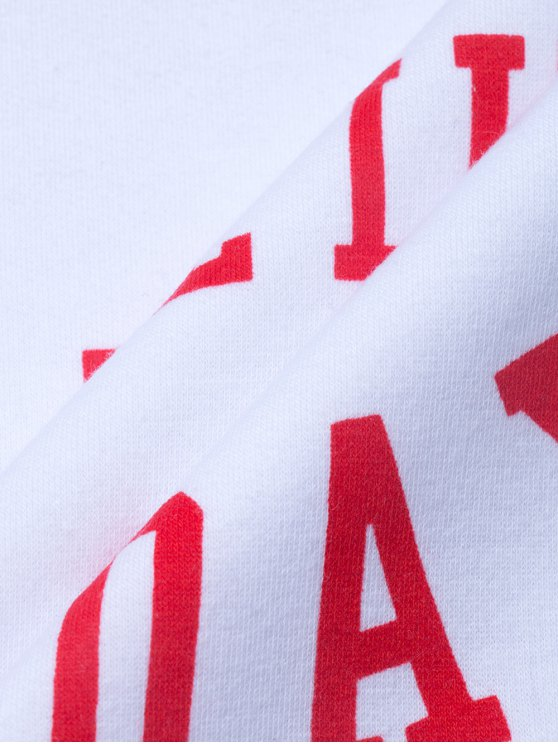 Text Print Pullover Raglan Sweatshirt - WHITE M Mobile