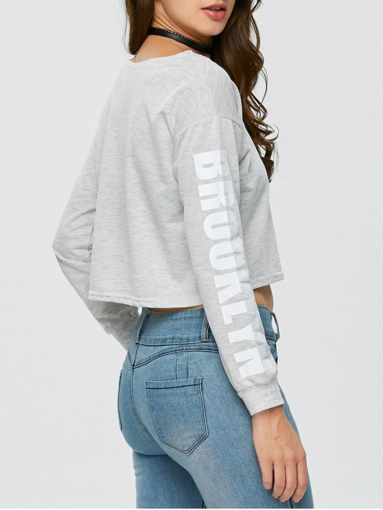 Boxy Cropped Sweatshirt - GRAY XL Mobile