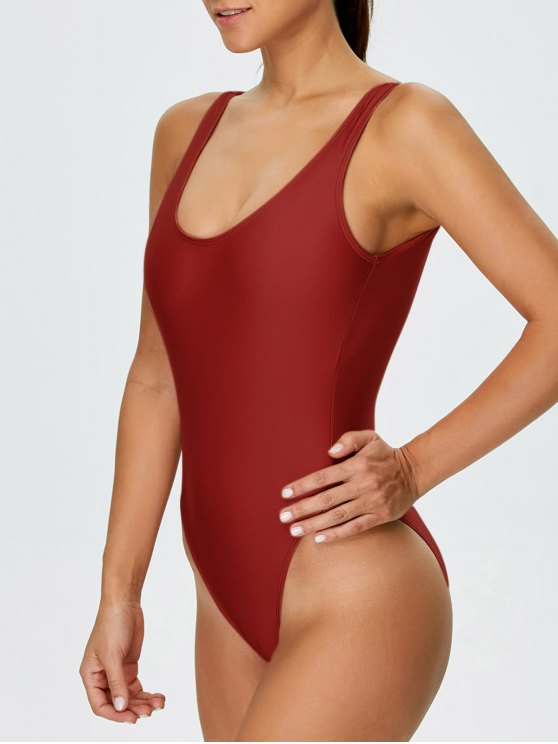 High Cut Backless Swimsuit - RED L Mobile