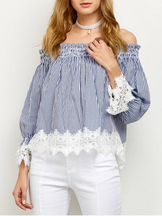 Lace Panel Off Shoulder Striped Blouse - STRIPE 2XL Mobile