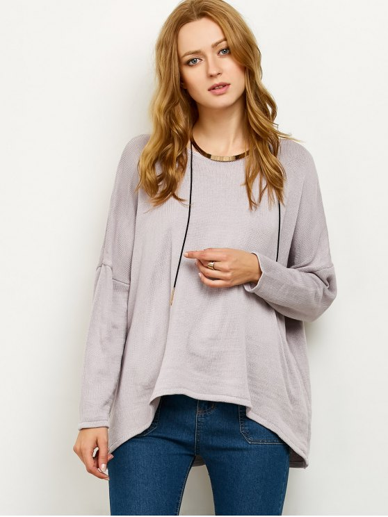 Drop Shoulder High-Low Sweater - GRAY M Mobile